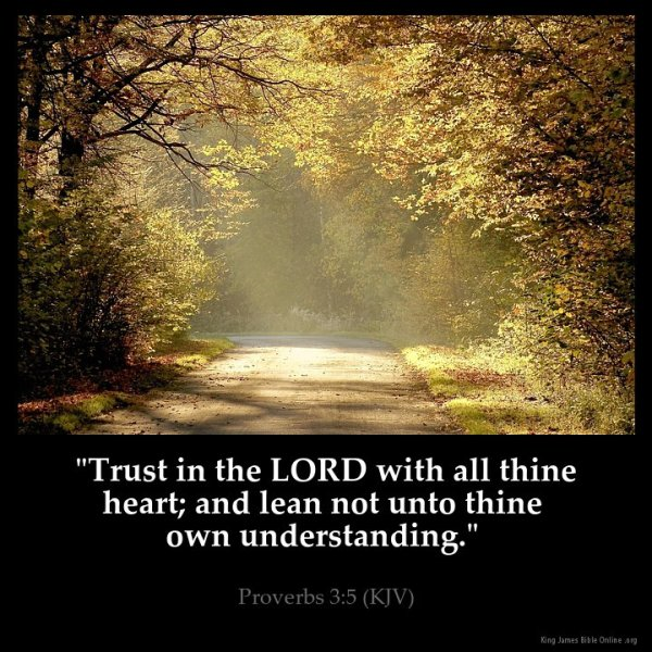 """Trust in the LORD with all thine heart; and lean not unto thine own understanding.""Proverbs 3:5 (KJV)"