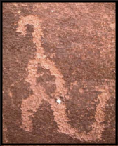This ancient petroglyph of an edmontosaurus can be seen in the Grand Canyon.