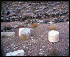 Remains of twelve handcrafted pillars Moses erected for the twelve tribes of Israel.